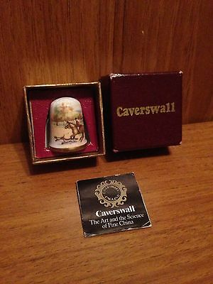 Horse Thimble Caverswall Horses & Hunting Scene England Animal - Complete In Box