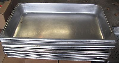 """Lot of 10 Stainless Steel Steam Table Pans 21""""x13""""x2"""" nice, heavy"""