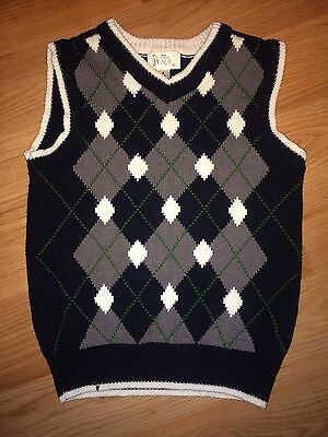 EUC boys The Children's Place Argyle Knit Sweater Vest 5-6 Small Holiday