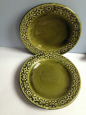 Vintage 2 x saucers Made in Ireland Celtic style ceramics Olive green