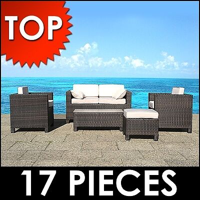 Patio Lounge Brown  Resin Rattan Garden  Furniture  Conservatory Porch Outdoor