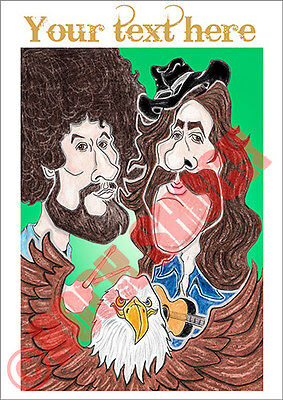 The Eagles Caricature Greeting Card Custom Text Henley Frey Country Rock 70s