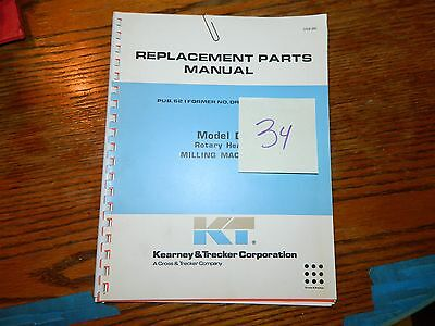 Milwaukee Kearney & Trucker Mill K & T D Replacement Parts Manual LOT #34