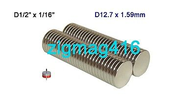 "25 pcs of Grade N52  D1/2"" x 1/16"" thick Rare Earth Neodymium Disc Magnets"