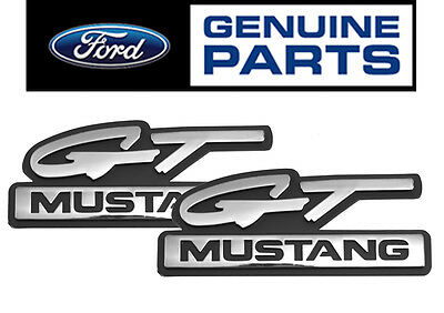 "1994-95 Mustang OEM Genuine Ford ""GT Mustang"" Chrome Fender Side Emblems - Pair"