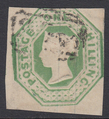 SG 54 1/- Pale Green VFU with three clear margins & lightly cancelled stamp.