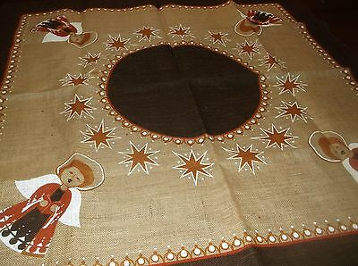 """vtg Swedish made burlap table cover, 40 by 39"""""""