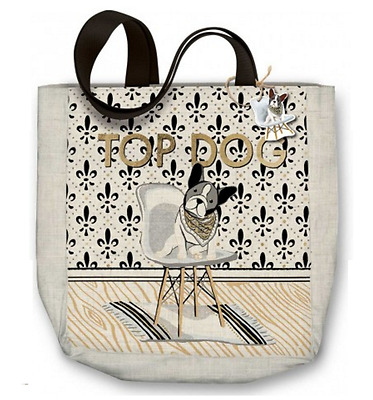 Top Dog Canvas Tote Bag Featuring a French Bulldog with Metallic Printing