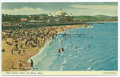 Vintage Postcard.  The Sands From The Pier,  Rhyl.  Unused.  Ref:6.25