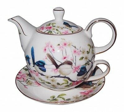Fine Bone China Blue Wren Tea Pot for Oner w Cup & Saucer  Teapot Boxed Gift