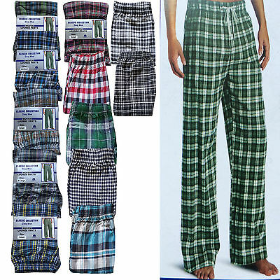 New Mens Cotton Check Lounge Pants Nightwear Pyjamas Bottoms Pants S-XXL