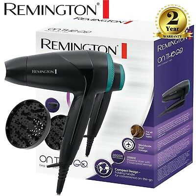Remington D1500 Compact Travel Hair Dryer, Diffuser, Folding Handle, 2000W NEW