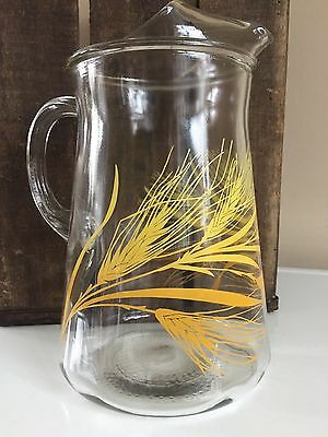 Vintage LIBBEY Glass Pitcher With Ice Lip GOLDEN WHEAT 2 Quart SERVING CONTAINER