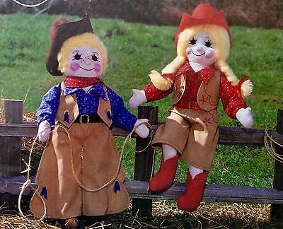 """The Gingham Goose Doll Pattern CALICO COW-POKES Guy & Gayle  Big 22 """" Howdy!"""