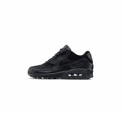 Nike Air Max 90 Boys Girl Uk Size 3 4 4.5 5 5.5 Black Running Trainers Shoes New