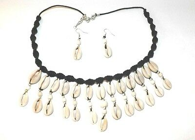 White Cowrie Shell Necklace Set