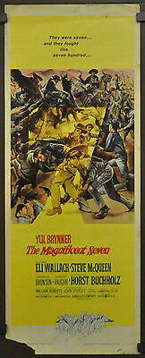 THE MAGNIFICENT SEVEN 1960 ORIGINAL MOVIE POSTER 14X36 YUL BRYNNER STEVE McQUEEN