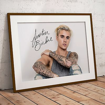 Justin Bieber Signature In Two Sizes A4 Print or A3 Poster NEW 2017