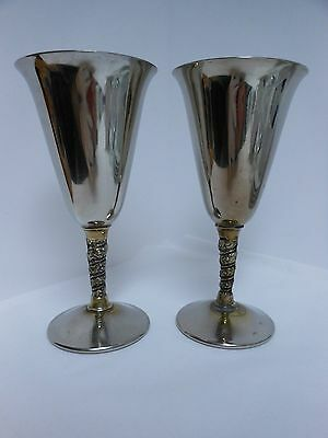 """Set of 2 F.B. Rogers Silverplate Wine Goblets Cups Made in Italy Stem Cups 7"""""""