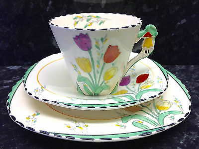 """Burleigh Ware Imperial Shape """"Tulip Time"""" Pattern Tea Cup Trio."""