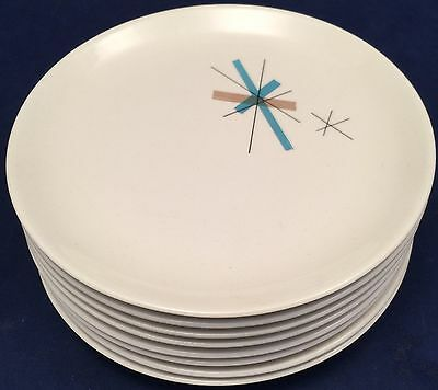 """Set of 8 Salem North Star Atomic Small 6 1/4"""" Plates Vintage Space Age"""