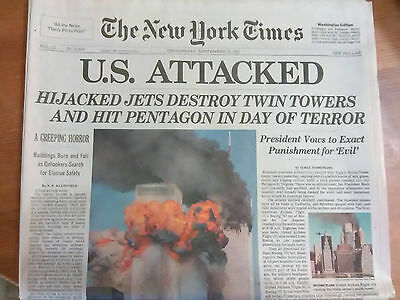 NY Times 9-12-01 Newspaper edition about 9-11 attack