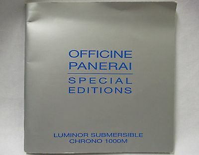 OFFICINE PANERAI Luminor Submersible Chronograph 1000M Watch Instructions Book