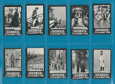 10 different Cigarette cards pretty  Ogden  c 1902  Army Navy military ops. #977