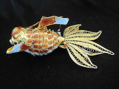 Asian 3D Articulated Cloisonne Brown Gold Fish Koi Fantail Filigree Ornament