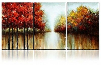 Asmork 100% Hand-Painted Autumn Scenery Trees Landscape Southwest Panel Wall On