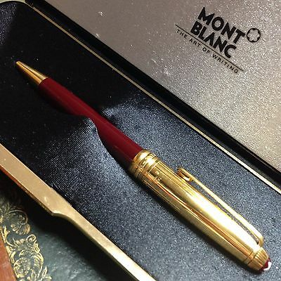 """Boligrafo MONTBLANC Roller Solitaire Doue Burgundy Vermeil """" silver gold plated"""""""
