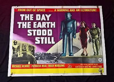THE DAY THE EARTH STOOD STILL 1951 FIRST RELEASE SCI FI  UK QUAD POSTER .30 x 40