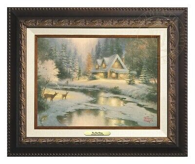Deer Creek Cottage Thomas Kinkade 9x12 Canvas NEW Giclee Aged Bronze Frame