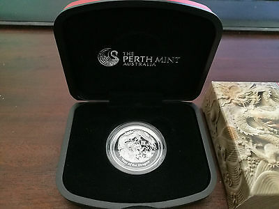 2012  silver proof high relief coin dragon perth mint 1 oz
