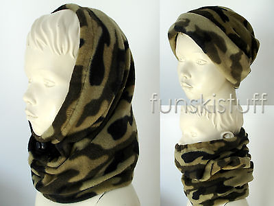 Kids boys DARK CAMO ARMY CAMOUFLAGE SNOOD black neck warmer balaclava scarf ski