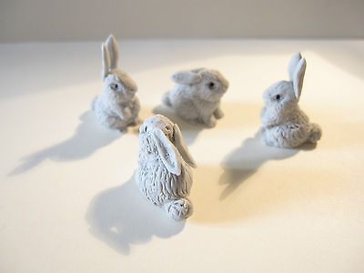 2 Dolls House Miniature Resin Grey Rabbits