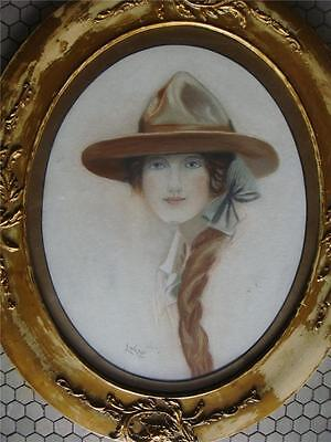 Antique Watercolor Painting Signed L.Wilson Lady w Hat- England  1920's