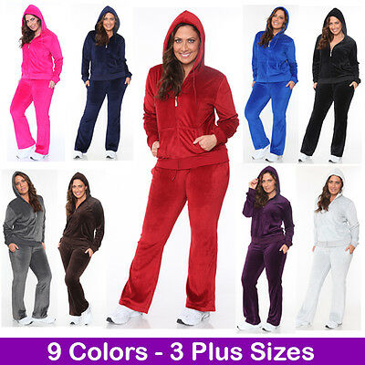 Women's Plus Size Athletic Velour Zip Up Hoodie & Sweat Pants Set Jogging Suit