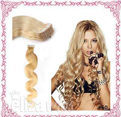 """20""""70g Russian Slavic Double Drawn 7A* Grade Human Hair Extension Wavy Tape-In"""