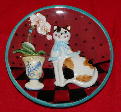 """3D Cat Collector Plate 5"""" Cat with a Flower in a Vase Calico Cat"""