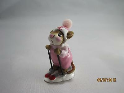 Wee Forest Folk Skier Mouse - Pink - Retired - Wff Box