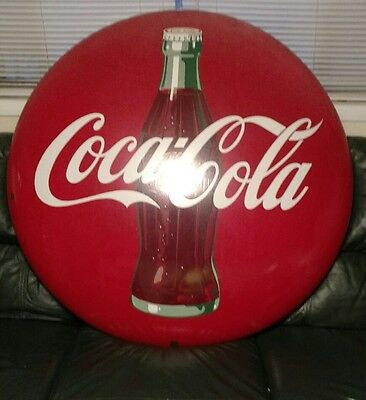 """1950s Vintage 48"""" Round Drink Coca-Cola Button Sign with Bottle NICE!!"""