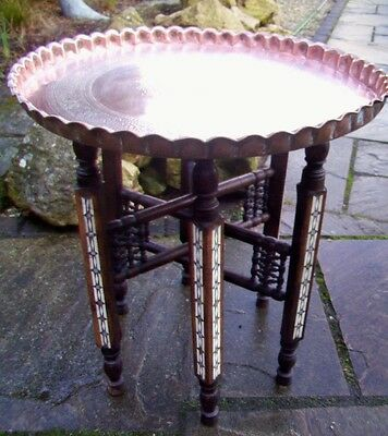 Superb Islamic Antique Inlaid Folding Side Table With Copper Tray