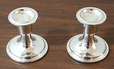 Two Short Silverplated Candlesticks