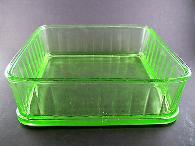 "Vintage Depression Lime Green Glass Square Container Dish 8"" X 8"" no lid (W4-1)"