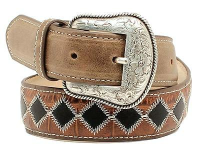 Nocona Western Boys Belt Kids Leather Patchwork Black Brown  N44178107