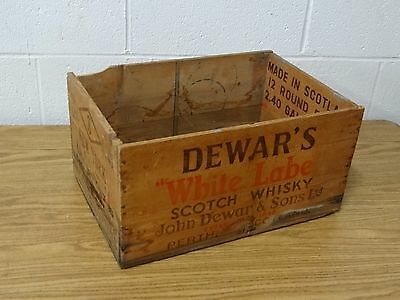 VINTAGE DEWAR'S WHITE LABEL SCOTCH WHISKEY WOOD BOX SCOTLAND New York Crate