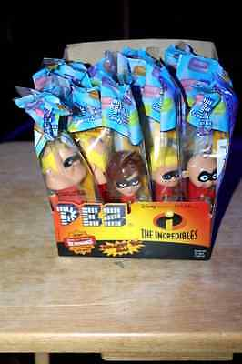 Rare 12 COUNT Disney Incredibles PEZ MIB & NEW COUNTER BOX  Hard to find ~ older