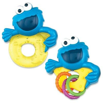 Sesame Street Cookie Monster - Baby Rattle and Teether Set - NEW - Baby Shower