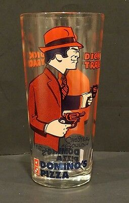 Dick Tracy Chester Gould Domino's Pizza Drinking Glass MINT RARE READ!